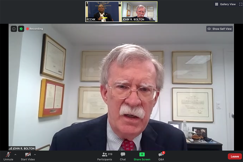 Former U.S. National Security Adviser John Bolton appears in a July 15 FCC webinar.