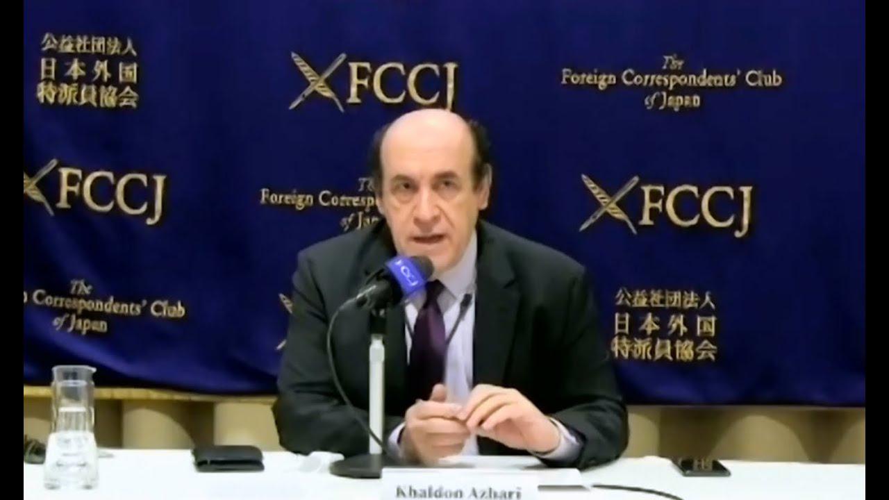 President Khaldon Azhari reads out the FCCJ's apology