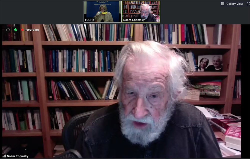 Noam Chomsky talks to Club President Jodi Schneider on August 7, 2020.