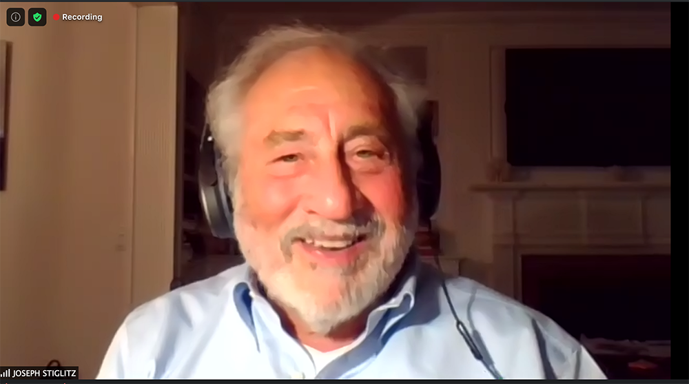 Joseph Stiglitz talks to Club President Jodi Schneider on September 15, 2020.