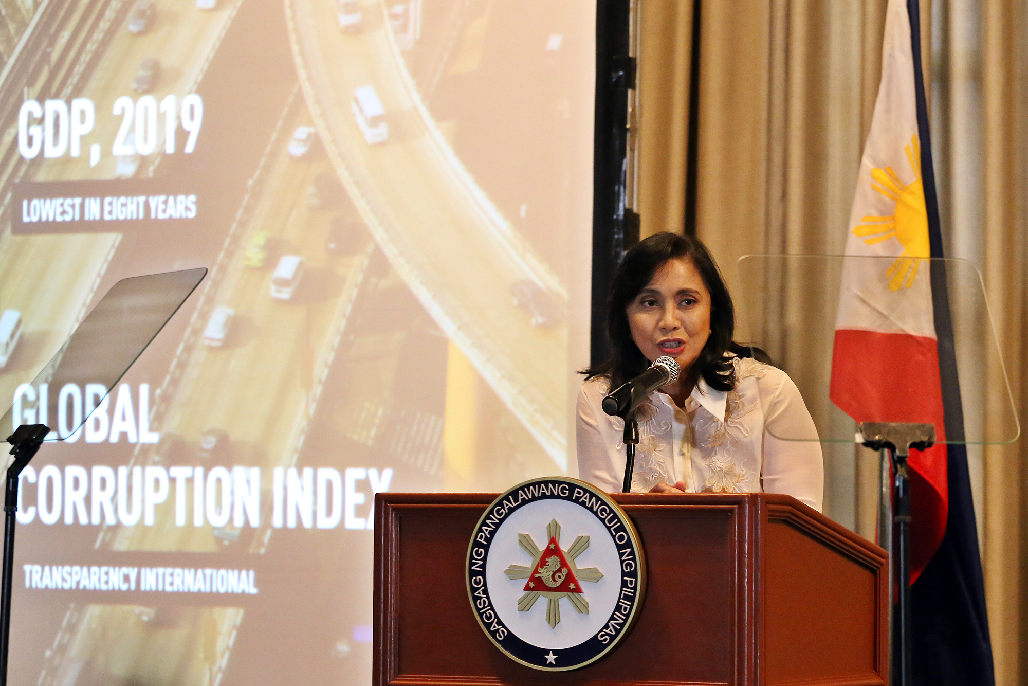 Philippines Vice President Leni Robredo spoke at FOCAP in January 2020.