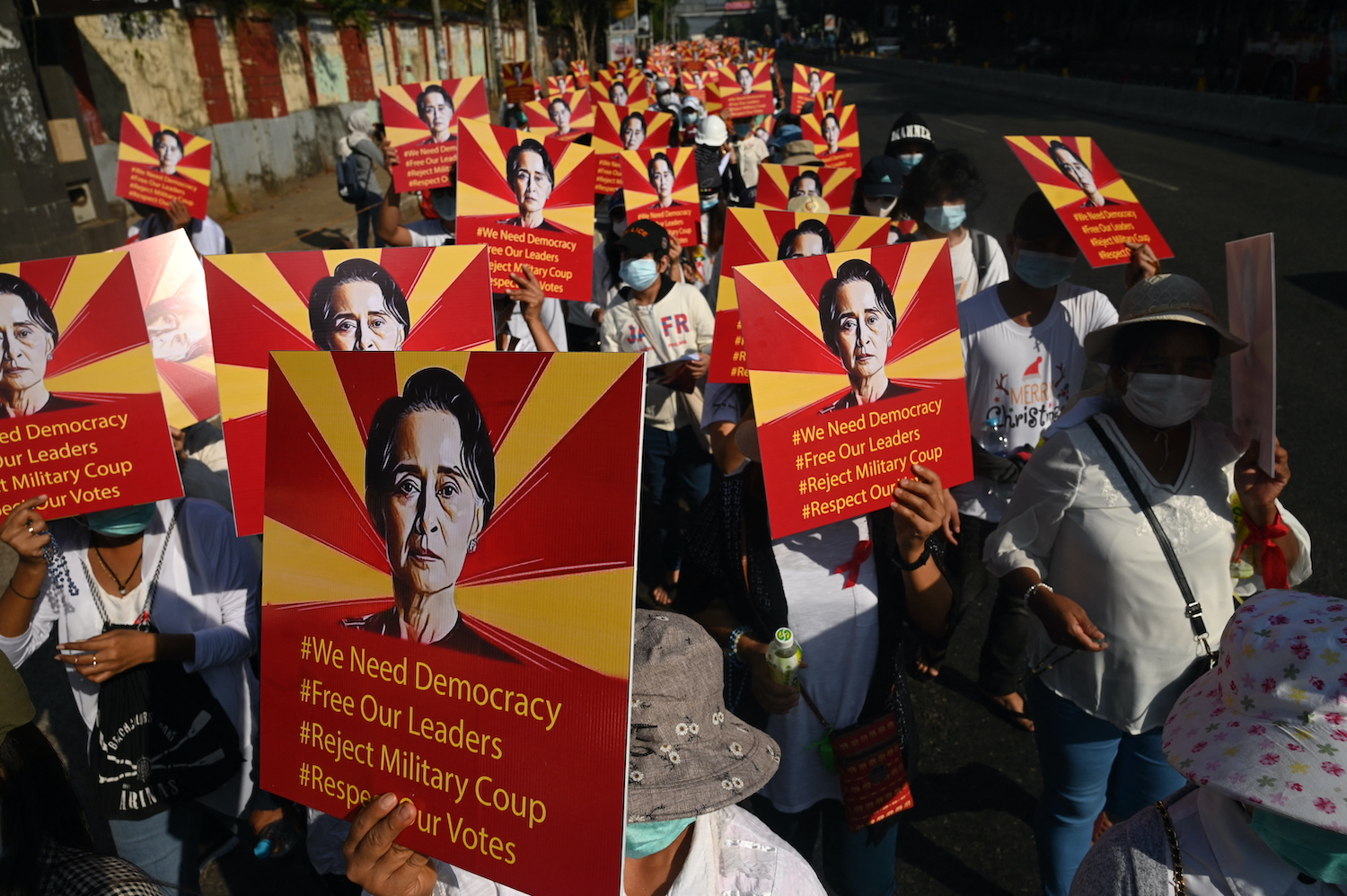 Protesters demonstrate against the military coup in Yangon on 14 February 2021.